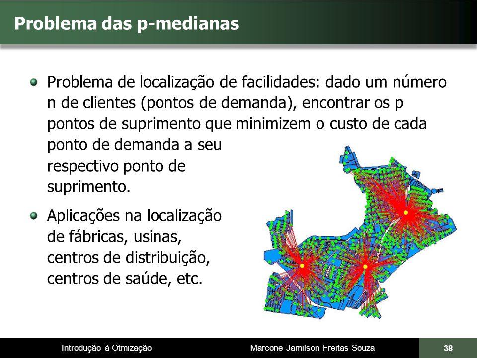 Introdução à Otmização Marcone Jamilson Freitas Souza Problema das p-medianas Problema de localização de facilidades: dado um número n de clientes (pontos de demanda), encontrar os p pontos de suprimento que minimizem o custo de cada ponto de demanda a seu respectivo ponto de suprimento.