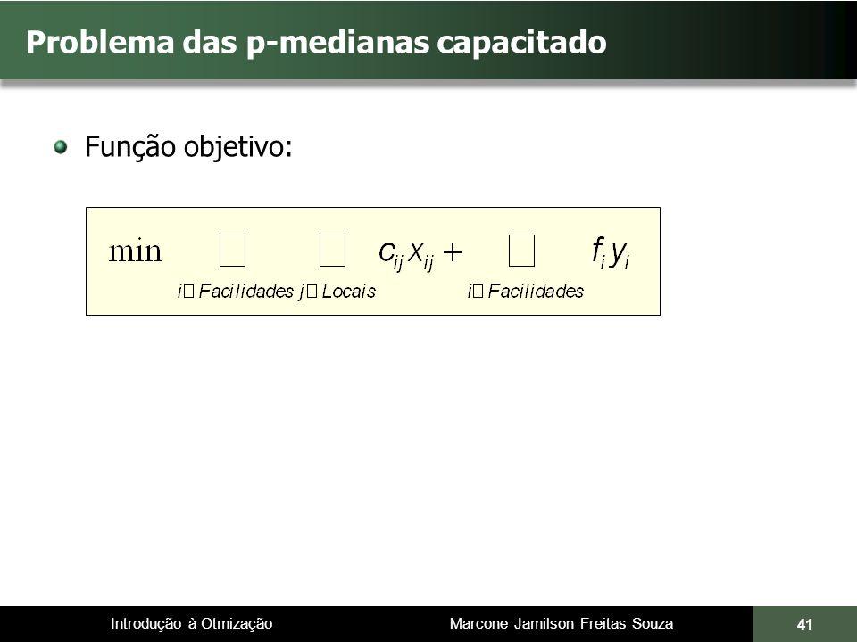 Introdução à Otmização Marcone Jamilson Freitas Souza Problema das p-medianas capacitado Função objetivo: 41