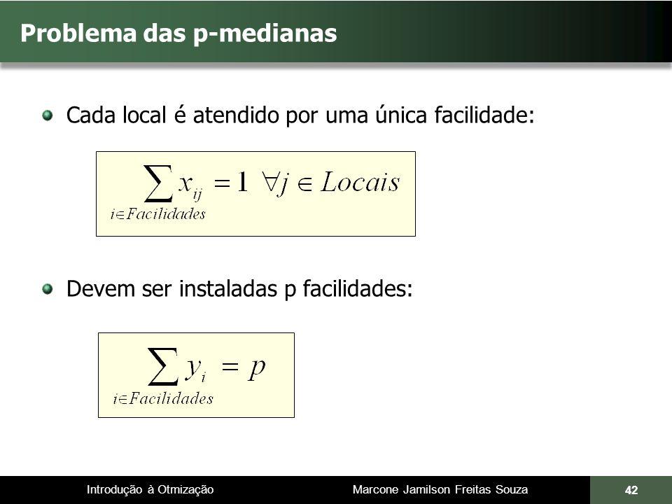 Introdução à Otmização Marcone Jamilson Freitas Souza Cada local é atendido por uma única facilidade: Devem ser instaladas p facilidades: Problema das p-medianas 42