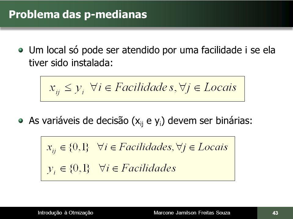 Introdução à Otmização Marcone Jamilson Freitas Souza Problema das p-medianas Um local só pode ser atendido por uma facilidade i se ela tiver sido ins