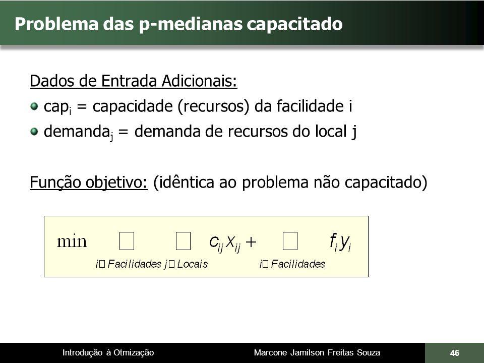 Introdução à Otmização Marcone Jamilson Freitas Souza Problema das p-medianas capacitado Dados de Entrada Adicionais: cap i = capacidade (recursos) da facilidade i demanda j = demanda de recursos do local j Função objetivo: (idêntica ao problema não capacitado) 46