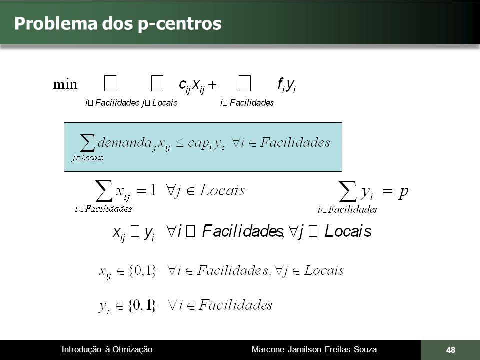 Introdução à Otmização Marcone Jamilson Freitas Souza Problema dos p-centros 48
