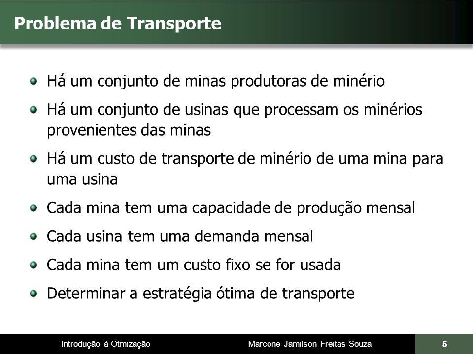 Introdução à Otmização Marcone Jamilson Freitas Souza 5 Problema de Transporte Há um conjunto de minas produtoras de minério Há um conjunto de usinas