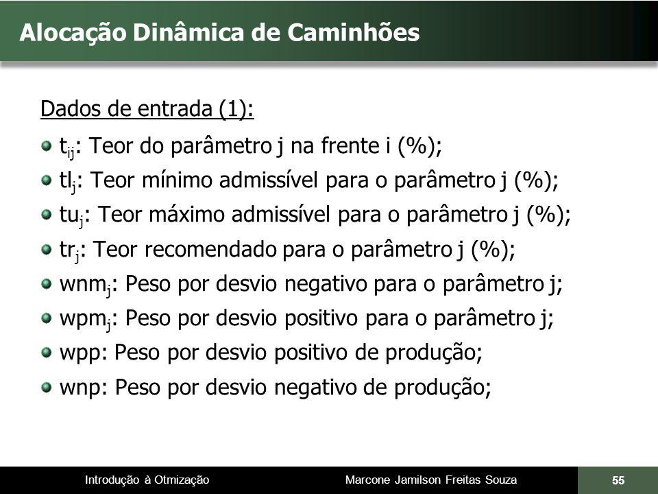 Introdução à Otmização Marcone Jamilson Freitas Souza Alocação Dinâmica de Caminhões Dados de entrada (1): t ij : Teor do parâmetro j na frente i (%); tl j : Teor mínimo admissível para o parâmetro j (%); tu j : Teor máximo admissível para o parâmetro j (%); tr j : Teor recomendado para o parâmetro j (%); wnm j : Peso por desvio negativo para o parâmetro j; wpm j : Peso por desvio positivo para o parâmetro j; wpp: Peso por desvio positivo de produção; wnp: Peso por desvio negativo de produção; 55