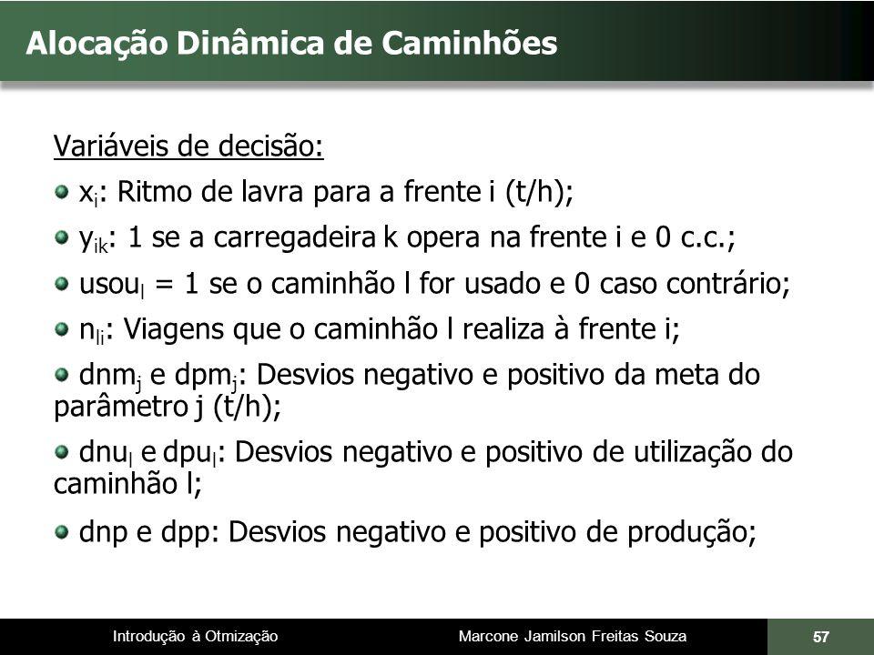Introdução à Otmização Marcone Jamilson Freitas Souza Alocação Dinâmica de Caminhões Variáveis de decisão: x i : Ritmo de lavra para a frente i (t/h);