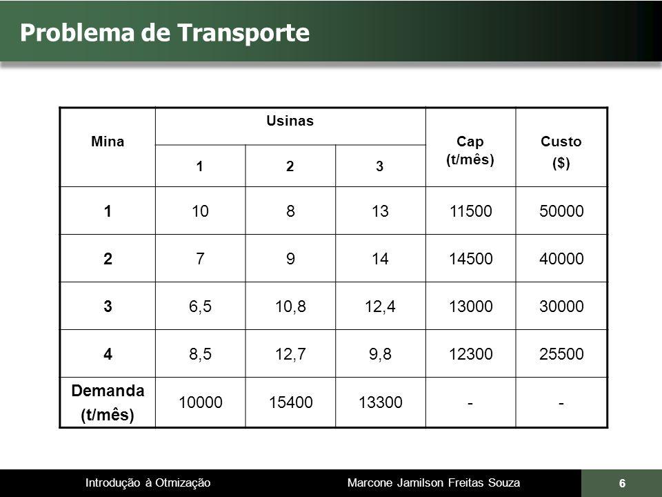 Introdução à Otmização Marcone Jamilson Freitas Souza 6 Problema de Transporte Mina Usinas Cap (t/mês) Custo ($) 123 1108131150050000 279141450040000 36,510,812,41300030000 48,512,79,81230025500 Demanda (t/mês) 100001540013300--