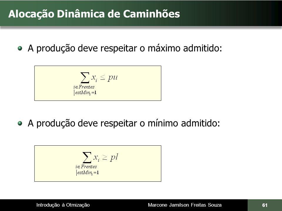 Introdução à Otmização Marcone Jamilson Freitas Souza Alocação Dinâmica de Caminhões A produção deve respeitar o máximo admitido: A produção deve respeitar o mínimo admitido: 61