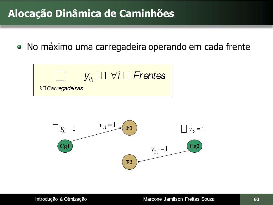 Introdução à Otmização Marcone Jamilson Freitas Souza Alocação Dinâmica de Caminhões No máximo uma carregadeira operando em cada frente 63 Cg1 F1 F2 Cg2