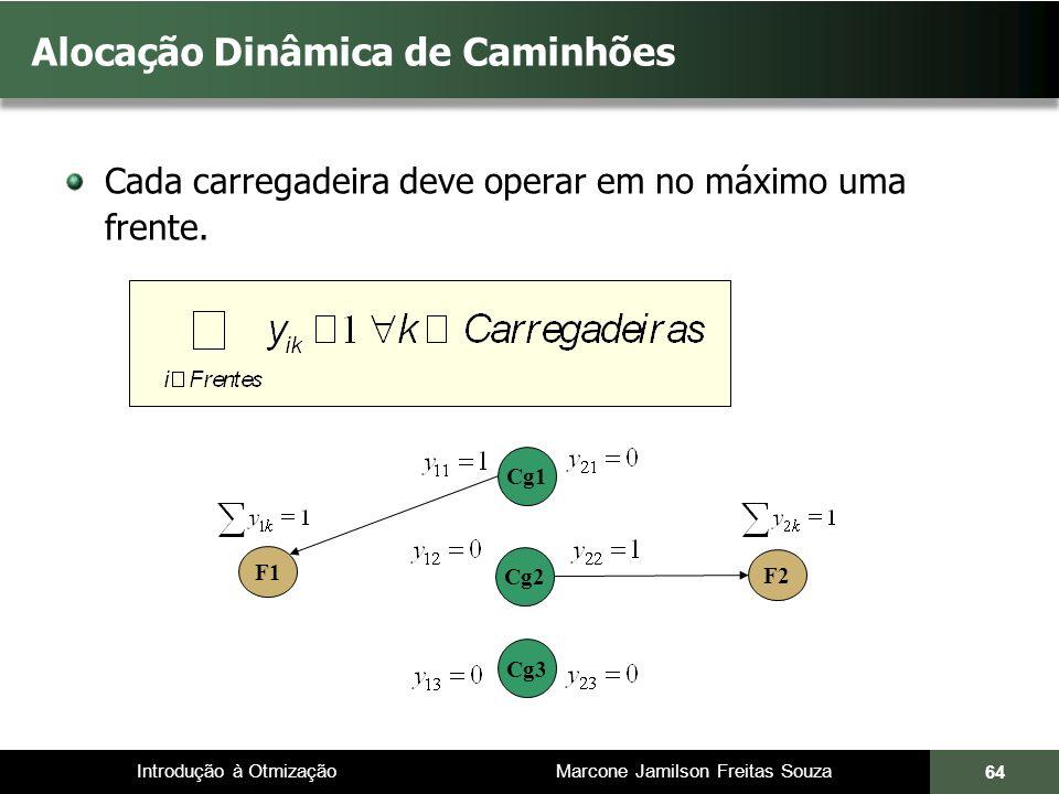 Introdução à Otmização Marcone Jamilson Freitas Souza Alocação Dinâmica de Caminhões Cada carregadeira deve operar em no máximo uma frente. 64 F1 Cg1