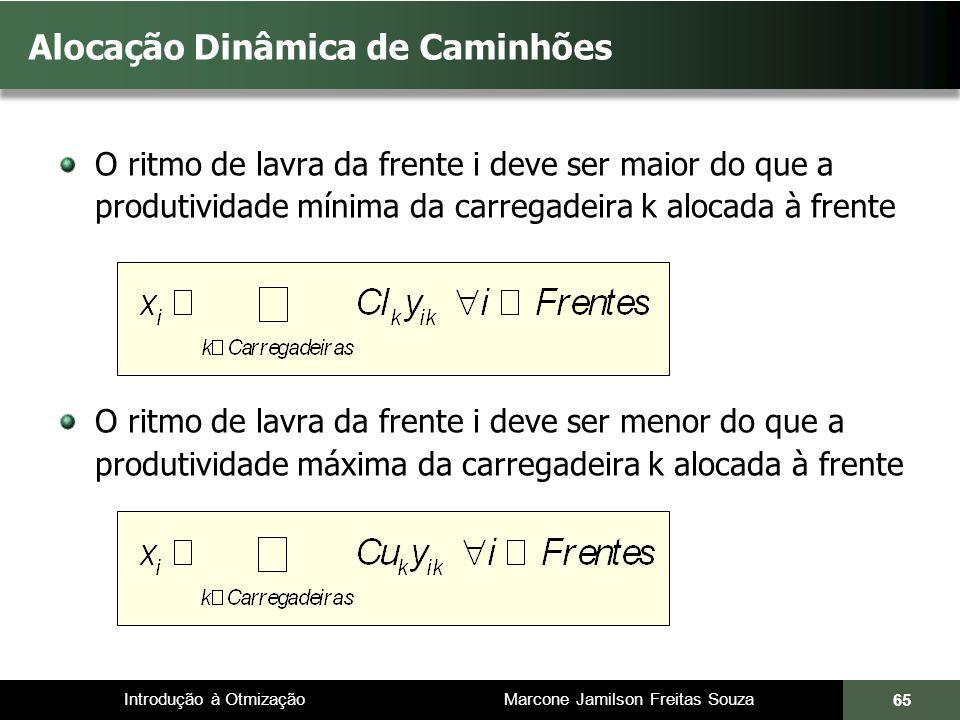 Introdução à Otmização Marcone Jamilson Freitas Souza Alocação Dinâmica de Caminhões O ritmo de lavra da frente i deve ser maior do que a produtividad