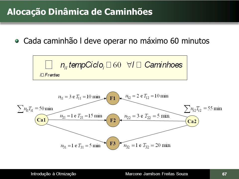Introdução à Otmização Marcone Jamilson Freitas Souza Cada caminhão l deve operar no máximo 60 minutos Alocação Dinâmica de Caminhões 67 Ca2 F1 F2 F3 Ca1