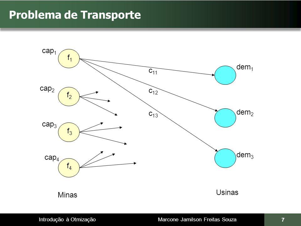 Introdução à Otmização Marcone Jamilson Freitas Souza 7 Problema de Transporte Minas Usinas dem 1 dem 2 dem 3 cap 1 cap 2 cap 3 cap 4 c 11 c 12 c 13 f2f2 f3f3 f4f4 f1f1