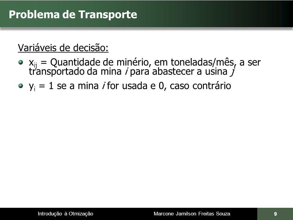 Introdução à Otmização Marcone Jamilson Freitas Souza 9 Problema de Transporte Variáveis de decisão: x ij = Quantidade de minério, em toneladas/mês, a ser transportado da mina i para abastecer a usina j y i = 1 se a mina i for usada e 0, caso contrário