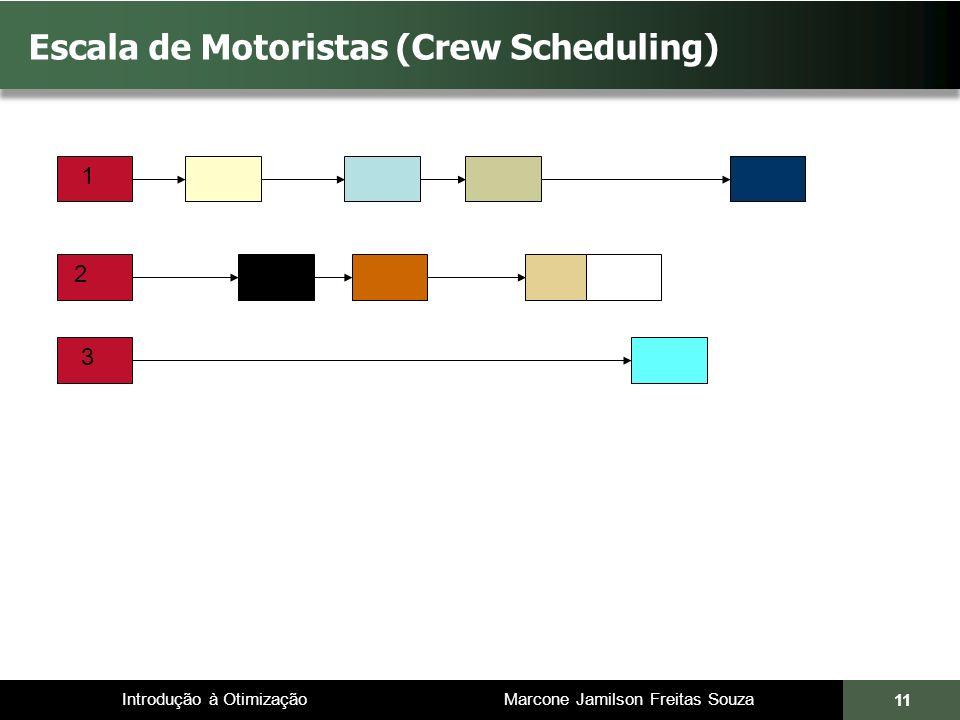 Introdução à Otimização Marcone Jamilson Freitas Souza 11 Escala de Motoristas (Crew Scheduling) 1 2 3