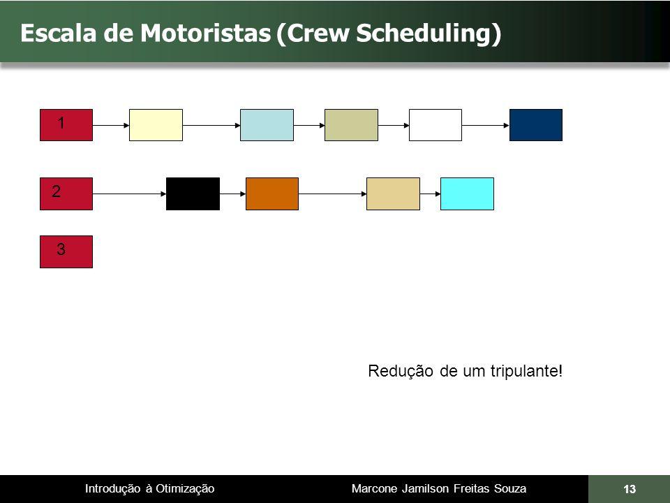 Introdução à Otimização Marcone Jamilson Freitas Souza 13 Escala de Motoristas (Crew Scheduling) 1 2 3 Redução de um tripulante!