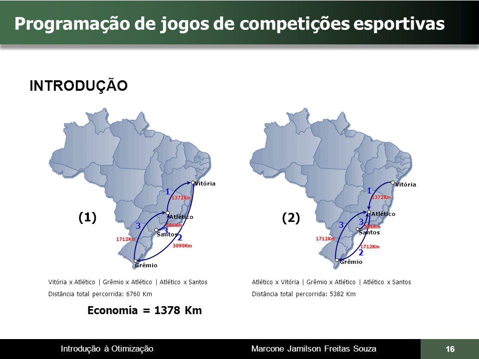 Introdução à Otimização Marcone Jamilson Freitas Souza 16 Programação de jogos de competições esportivas Vitória x Atlético | Grêmio x Atlético | Atlé