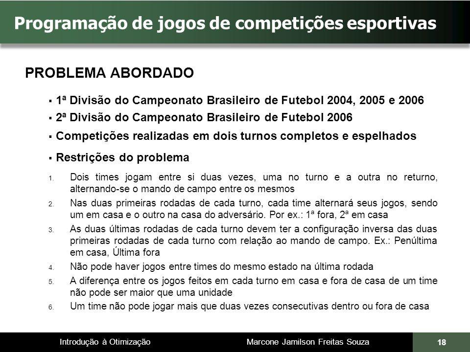 Introdução à Otimização Marcone Jamilson Freitas Souza 18 Programação de jogos de competições esportivas PROBLEMA ABORDADO 1ª Divisão do Campeonato Br