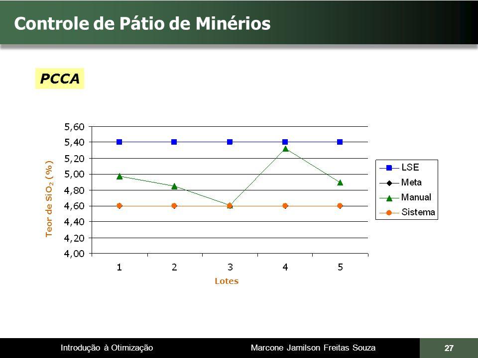 Introdução à Otimização Marcone Jamilson Freitas Souza 27 Controle de Pátio de Minérios Teor de SiO 2 (%) PCCA Lotes