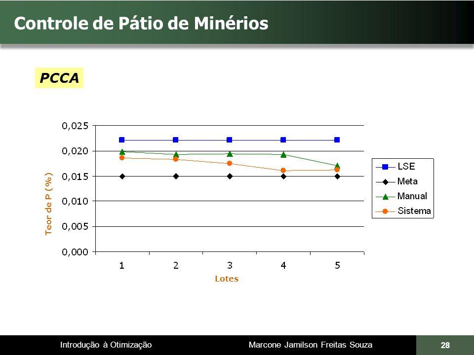 Introdução à Otimização Marcone Jamilson Freitas Souza 28 Controle de Pátio de Minérios Teor de P (%) PCCA Lotes