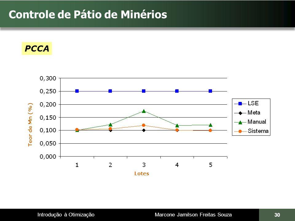Introdução à Otimização Marcone Jamilson Freitas Souza 30 Controle de Pátio de Minérios Teor de Mn (%) PCCA Lotes