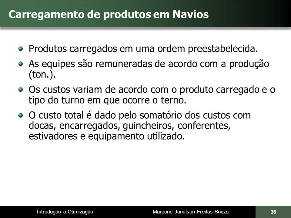 Introdução à Otimização Marcone Jamilson Freitas Souza 36 Carregamento de produtos em Navios Produtos carregados em uma ordem preestabelecida. As equi