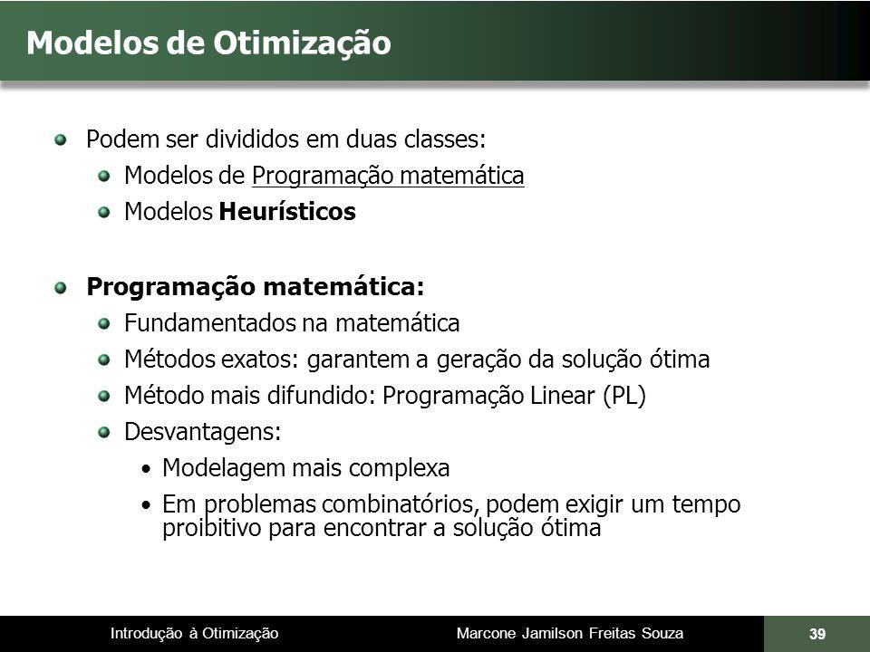Introdução à Otimização Marcone Jamilson Freitas Souza 39 Modelos de Otimização Podem ser divididos em duas classes: Modelos de Programação matemática