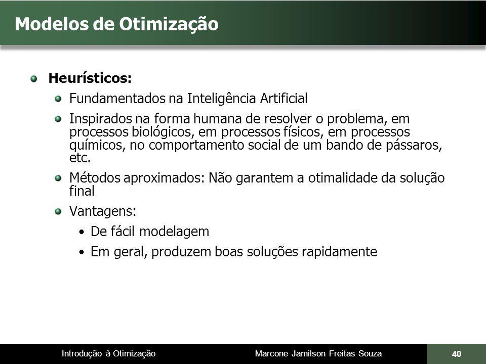 Introdução à Otimização Marcone Jamilson Freitas Souza 40 Modelos de Otimização Heurísticos: Fundamentados na Inteligência Artificial Inspirados na fo