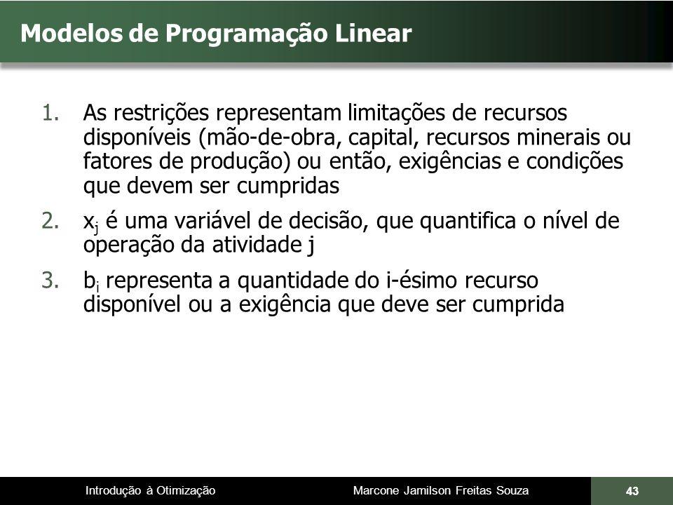 Introdução à Otimização Marcone Jamilson Freitas Souza 43 Modelos de Programação Linear 1.As restrições representam limitações de recursos disponíveis