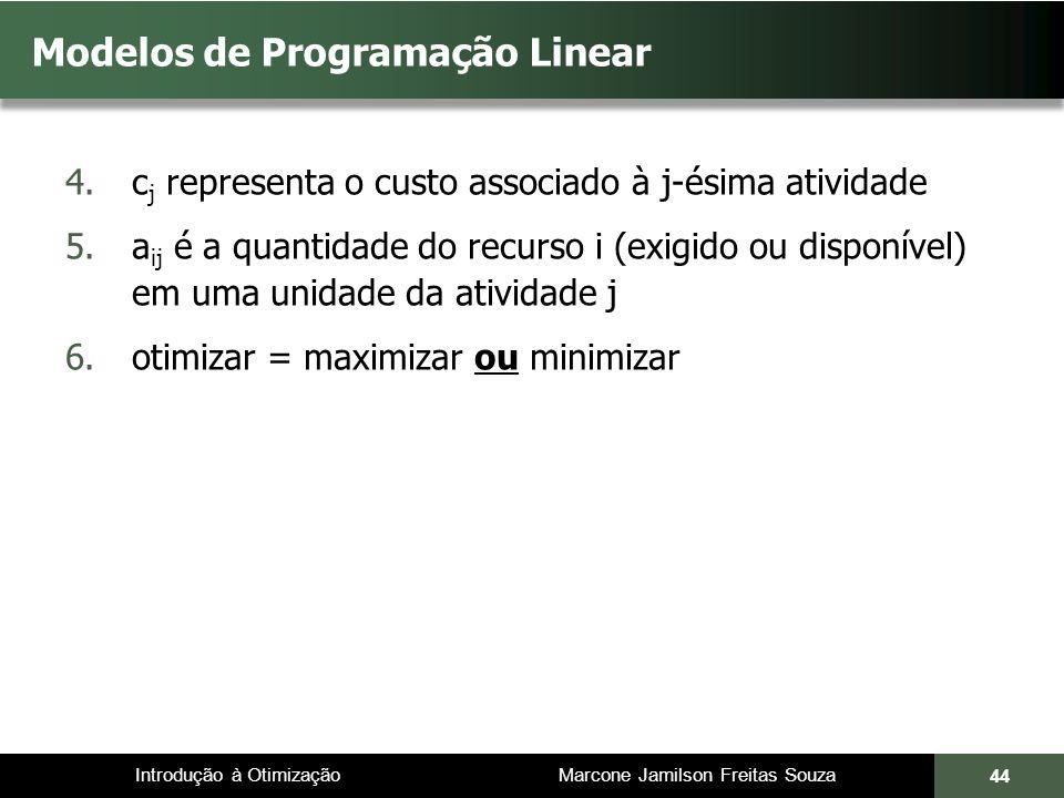 Introdução à Otimização Marcone Jamilson Freitas Souza 44 Modelos de Programação Linear 4.c j representa o custo associado à j-ésima atividade 5.a ij