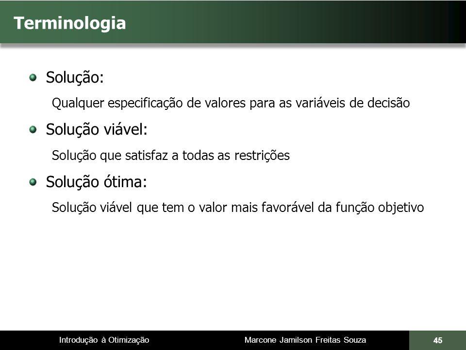 Introdução à Otimização Marcone Jamilson Freitas Souza 45 Terminologia Solução: Qualquer especificação de valores para as variáveis de decisão Solução