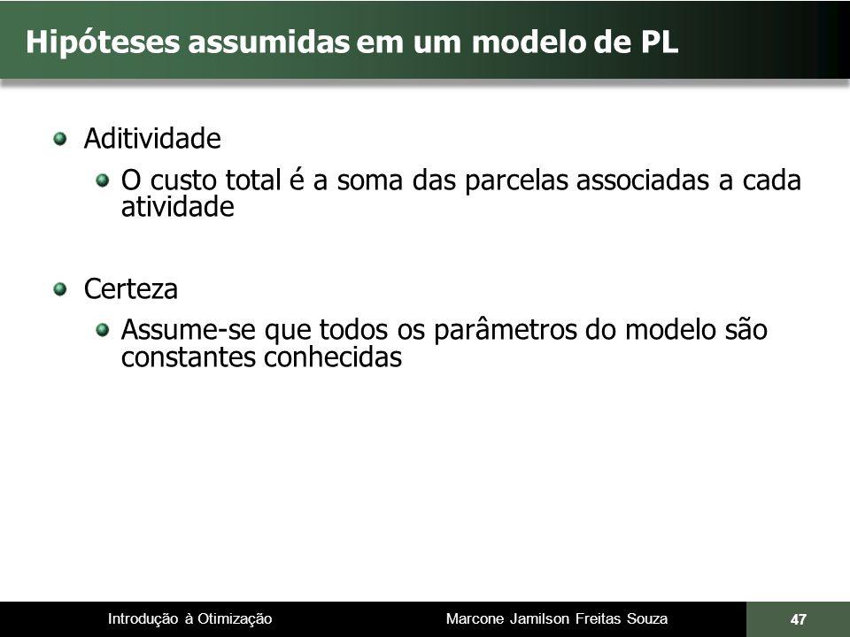 Introdução à Otimização Marcone Jamilson Freitas Souza 47 Hipóteses assumidas em um modelo de PL Aditividade O custo total é a soma das parcelas assoc