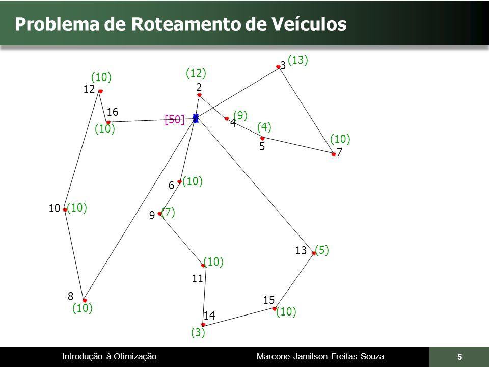 Introdução à Otimização Marcone Jamilson Freitas Souza 6 Problema de Roteamento de Veículos 3 4 5 2 6 7 9 11 (9) (12) (13) (4) (10) [50] (10) (7) (10) (5) (10) (3) (10) 13 15 14 8 10 12 16 Dentre todas as possíveis roteirizações, determine aquela que minimiza a distância total percorrida