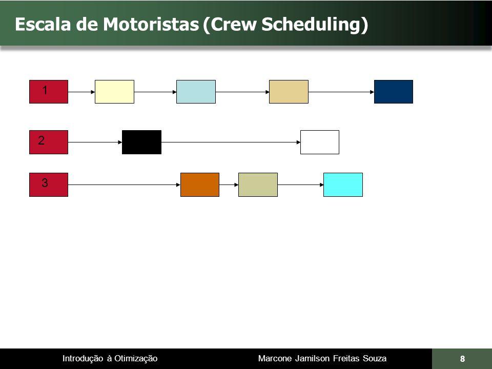 Introdução à Otimização Marcone Jamilson Freitas Souza 9 Escala de Motoristas (Crew Scheduling) 1 2 3