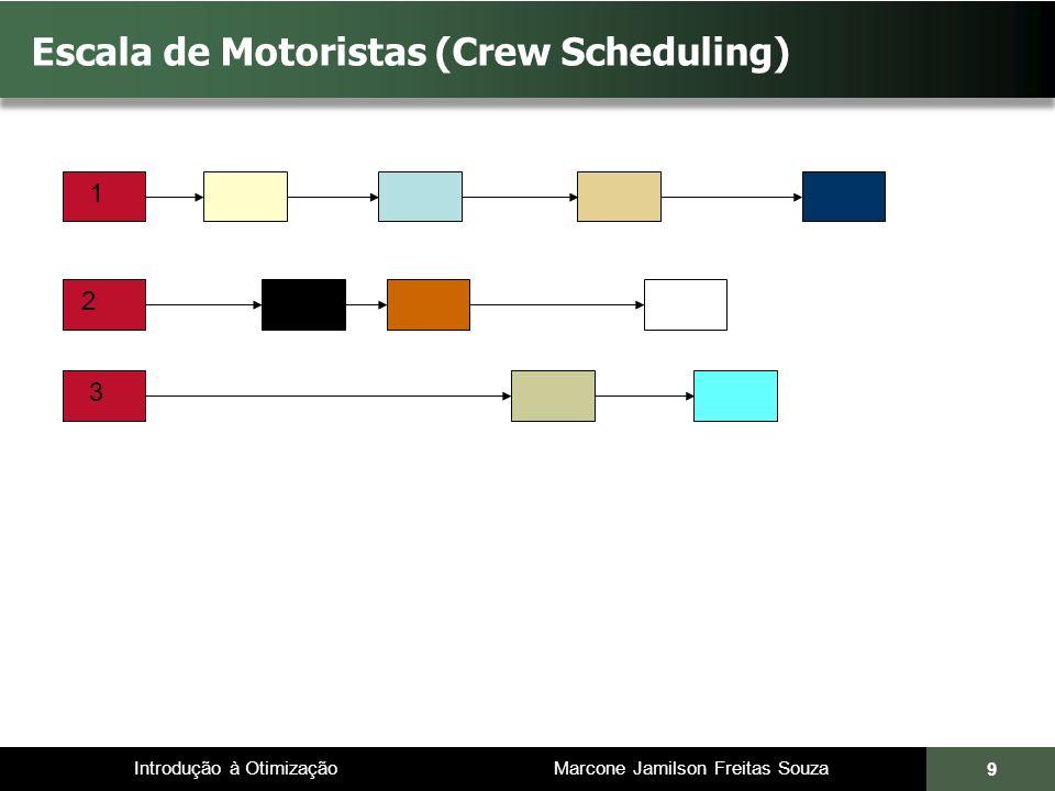 Introdução à Otimização Marcone Jamilson Freitas Souza 10 Escala de Motoristas (Crew Scheduling) 1 2 3