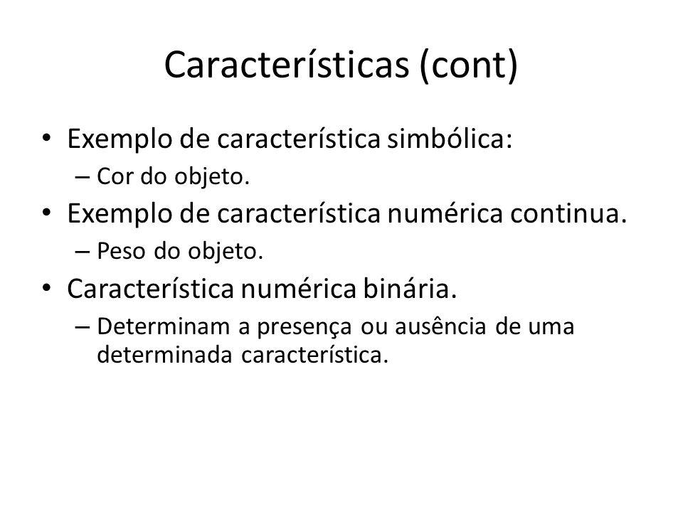 Características (cont) Exemplo de característica simbólica: – Cor do objeto. Exemplo de característica numérica continua. – Peso do objeto. Caracterís