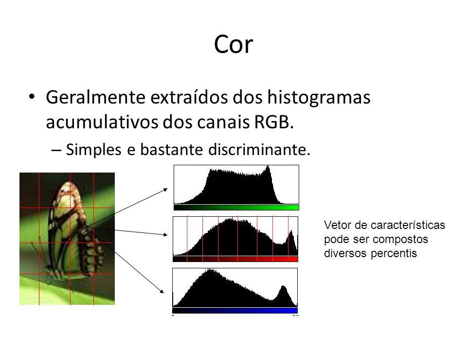 Cor Geralmente extraídos dos histogramas acumulativos dos canais RGB. – Simples e bastante discriminante. Vetor de características pode ser compostos