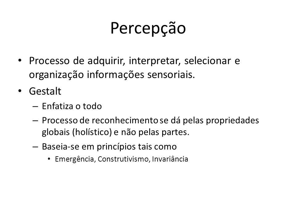 Percepção Processo de adquirir, interpretar, selecionar e organização informações sensoriais. Gestalt – Enfatiza o todo – Processo de reconhecimento s