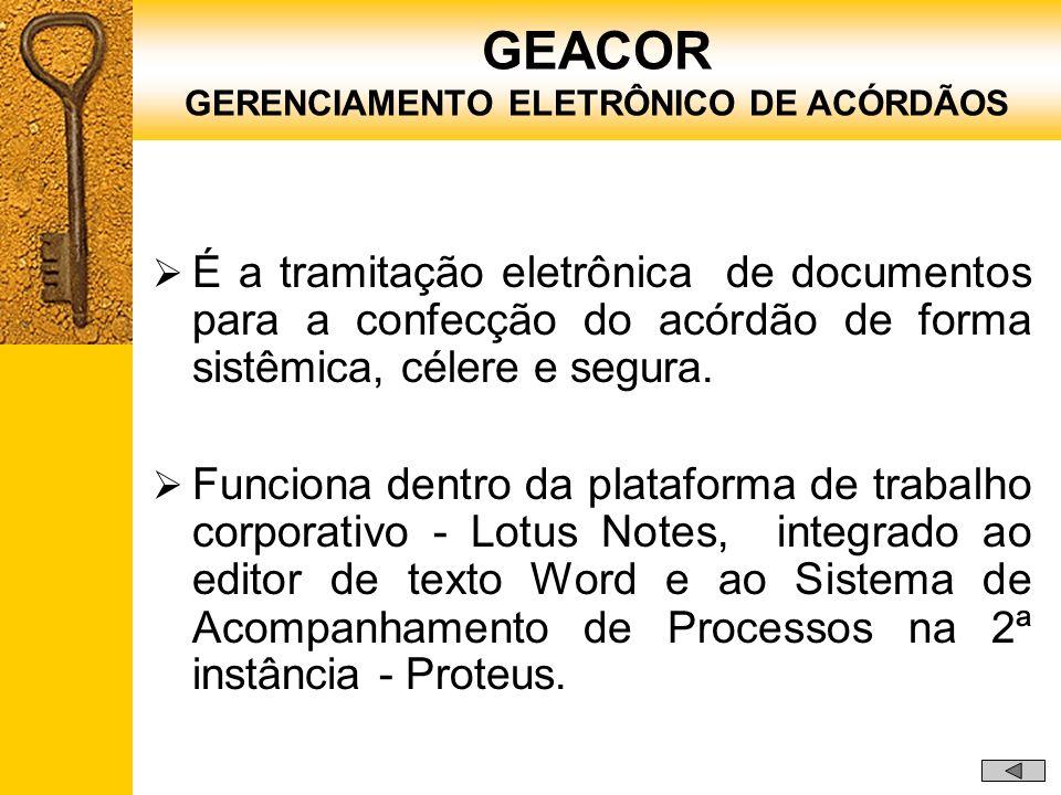 É a tramitação eletrônica de documentos para a confecção do acórdão de forma sistêmica, célere e segura. Funciona dentro da plataforma de trabalho cor