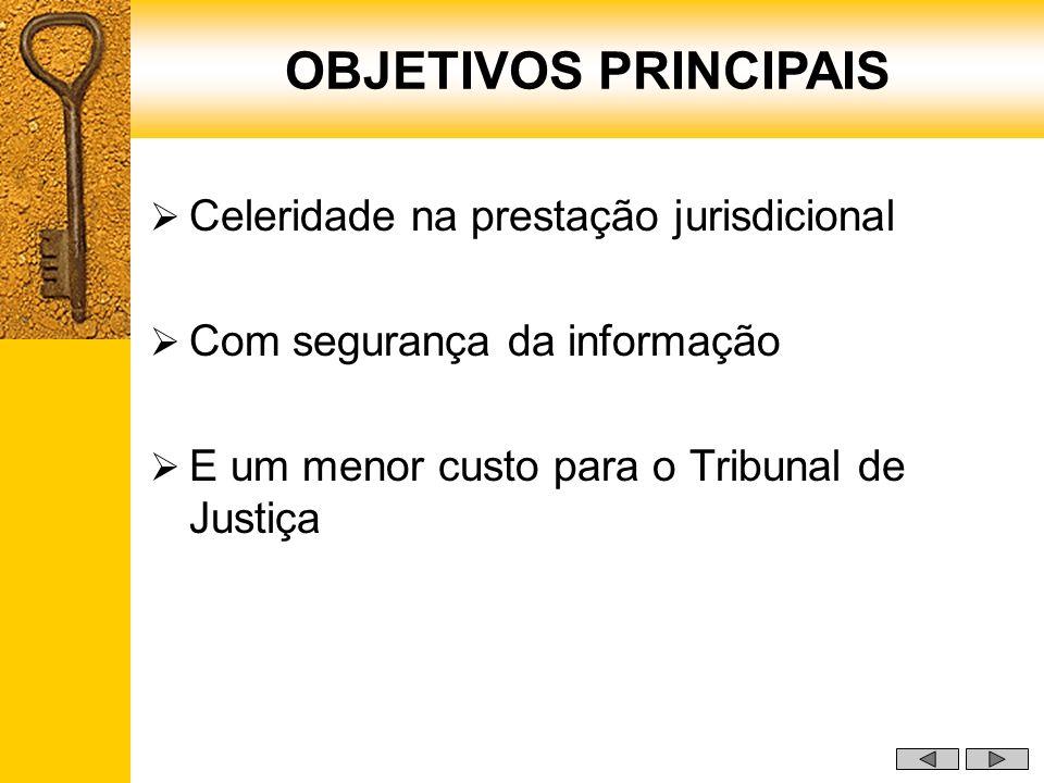 Celeridade na prestação jurisdicional Com segurança da informação E um menor custo para o Tribunal de Justiça OBJETIVOS PRINCIPAIS