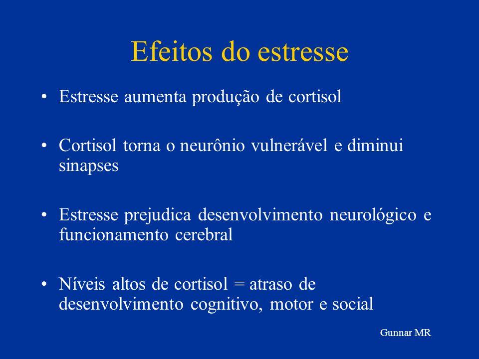 Efeitos do estresse Estresse aumenta produção de cortisol Cortisol torna o neurônio vulnerável e diminui sinapses Estresse prejudica desenvolvimento n