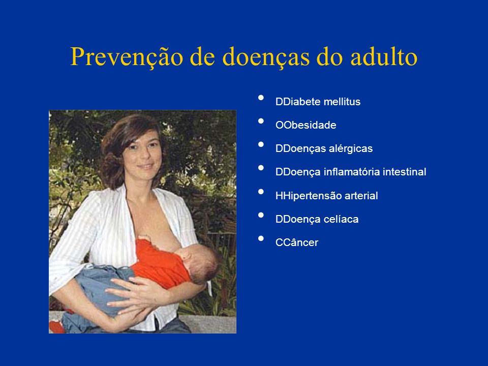 Prevenção de doenças do adulto DDiabete mellitus OObesidade DDoenças alérgicas DDoença inflamatória intestinal HHipertensão arterial DDoença celíaca C
