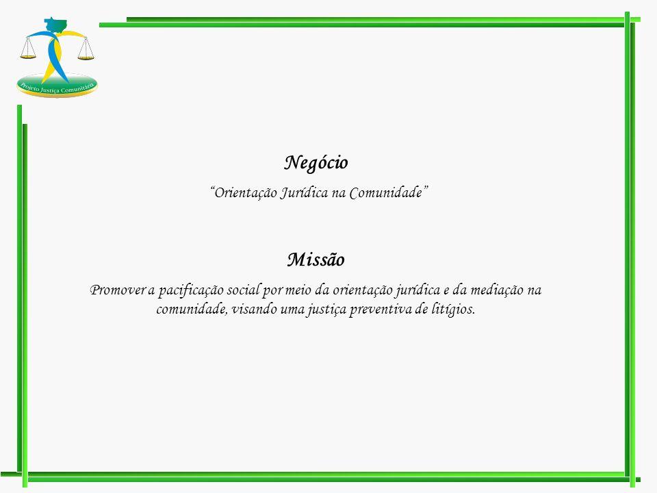 Negócio Orientação Jurídica na Comunidade Missão Promover a pacificação social por meio da orientação jurídica e da mediação na comunidade, visando um