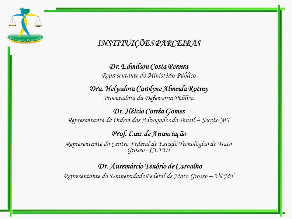 INSTITUIÇÕES PARCEIRAS Dr. Edmilson Costa Pereira Representante do Ministério Público Dra. Helyodora Carolyne Almeida Rotiny Procuradora da Defensoria