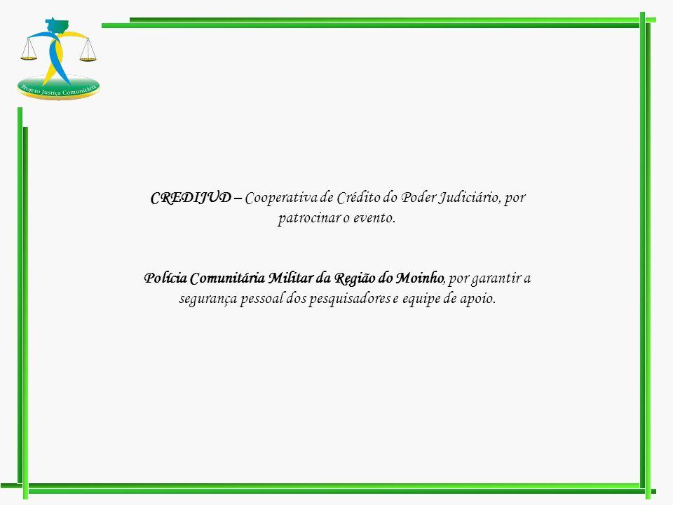 CREDIJUD – Cooperativa de Crédito do Poder Judiciário, por patrocinar o evento. Polícia Comunitária Militar da Região do Moinho, por garantir a segura