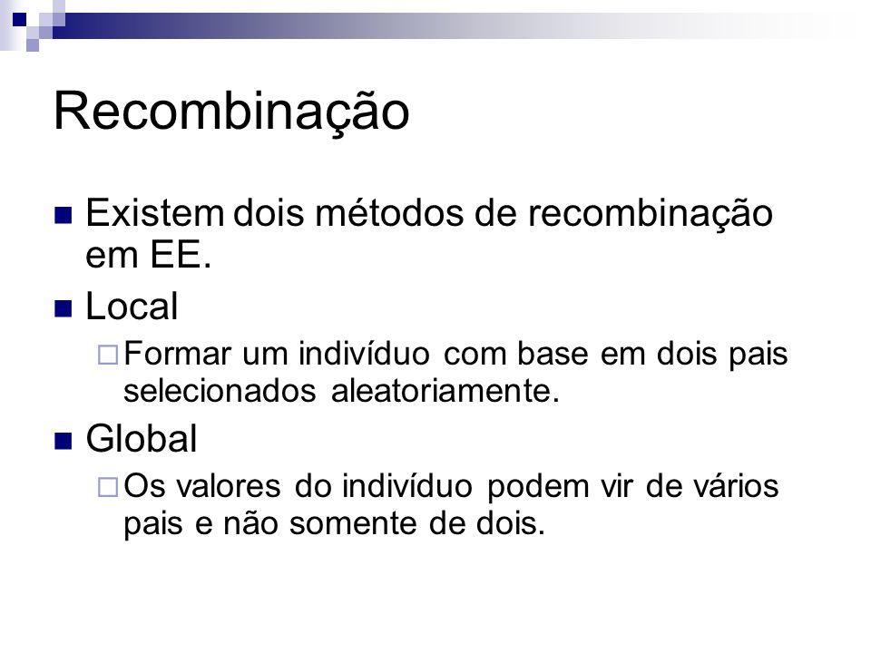 Recombinação Existem dois métodos de recombinação em EE. Local Formar um indivíduo com base em dois pais selecionados aleatoriamente. Global Os valore