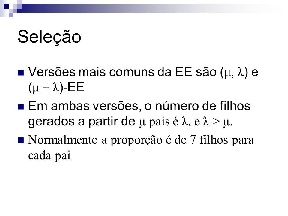 Seleção Versões mais comuns da EE são ( μ, λ ) e ( μ + λ )-EE Em ambas versões, o número de filhos gerados a partir de μ pais é λ, e λ > μ. Normalment