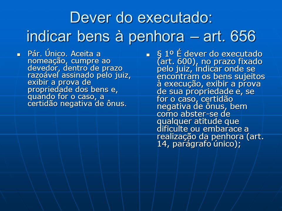 Dever do executado: indicar bens à penhora – art.656 Pár.