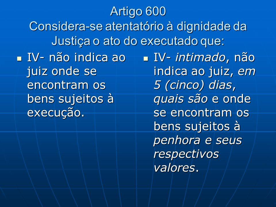 Artigo 600 Considera-se atentatório à dignidade da Justiça o ato do executado que: IV- não indica ao juiz onde se encontram os bens sujeitos à execução.