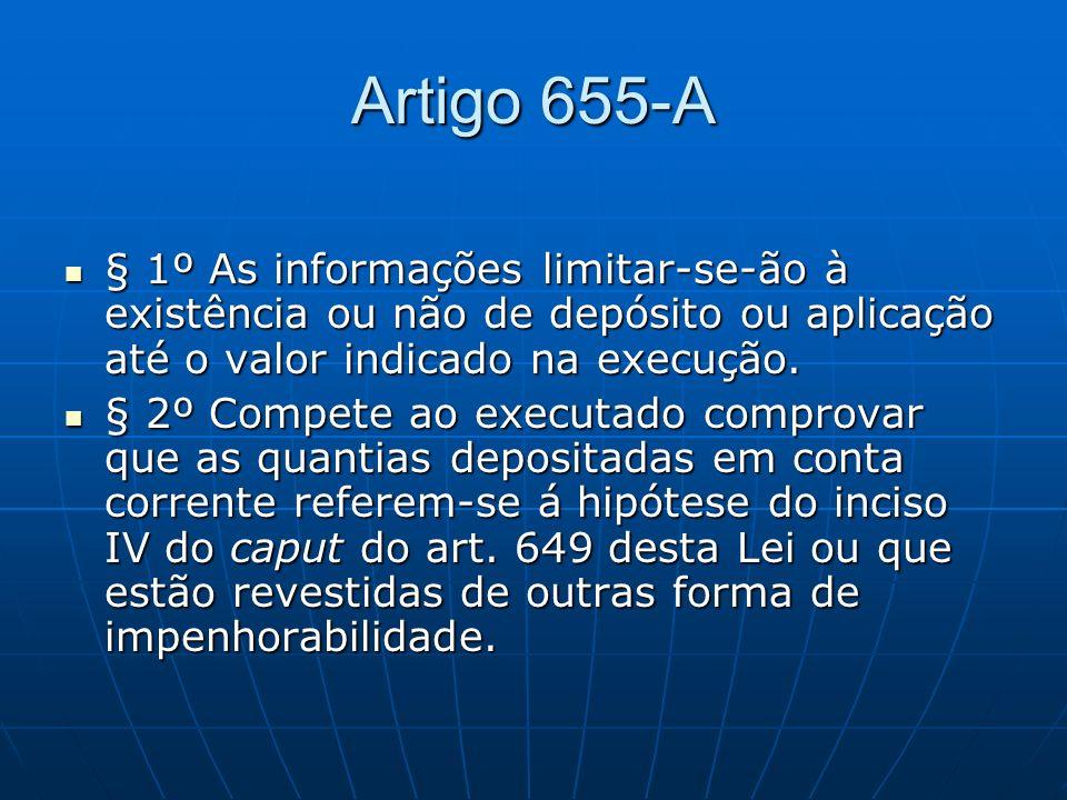 Artigo 655-A § 1º As informações limitar-se-ão à existência ou não de depósito ou aplicação até o valor indicado na execução.