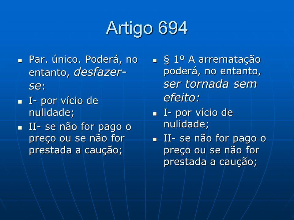 Artigo 694 Par.único. Poderá, no entanto, desfazer- se : Par.